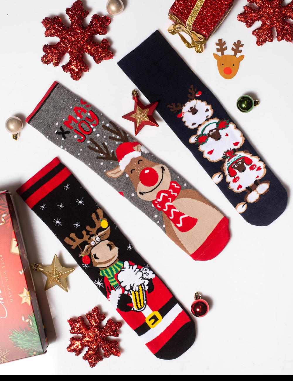 Κάλτσες Χριστουγεννιάτικες Christmas Joy Vtexsocks Σετ 3 τμχ