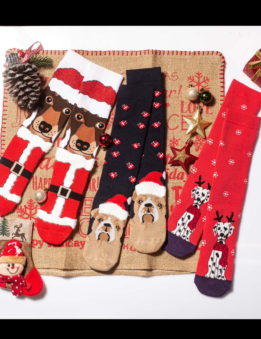 Κάλτσες Χριστουγεννιάτικες Christmas Dogs Vtexsocks Σετ 3 τμχ