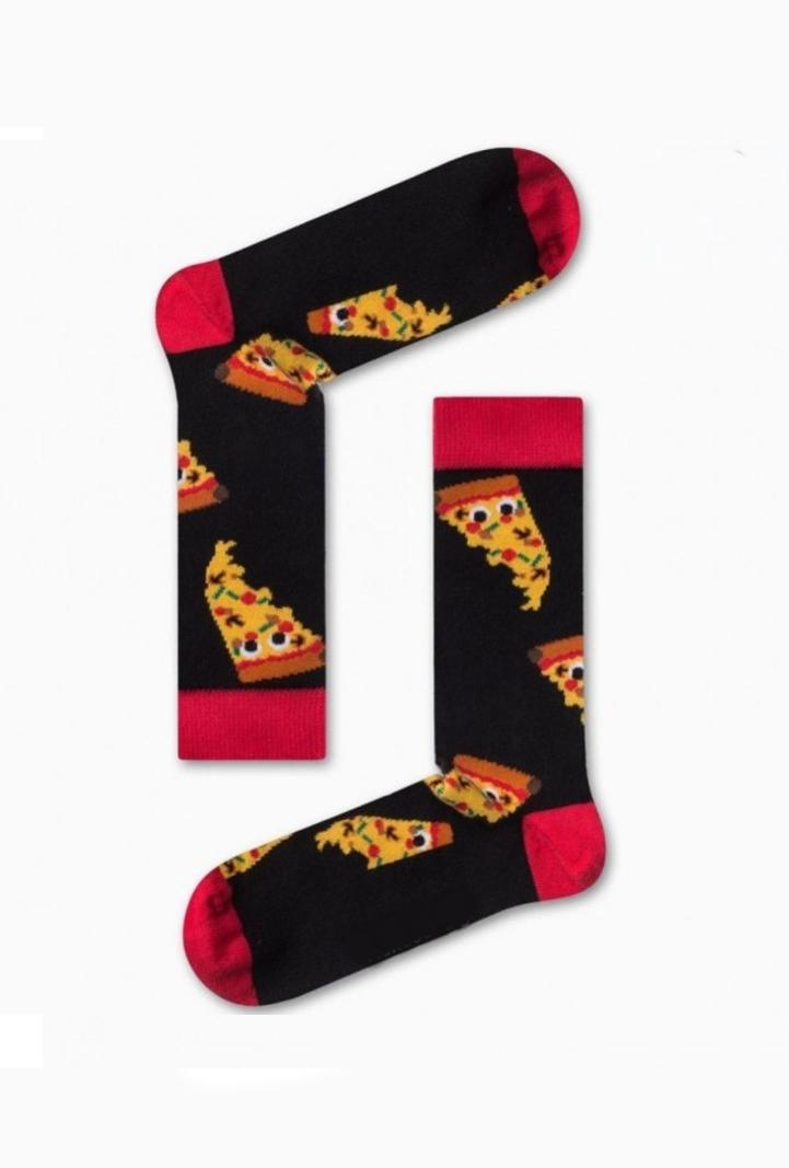 Κάλτσα Pizza Slices Black Χωρίς Ραφές Vtexsocks